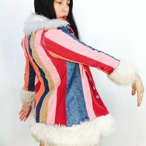 Rare vtg rainbow faux fur trim Penny Lane coat